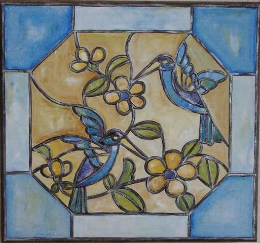 faux-vitrail-oiseaux-fleurs