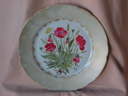 Assiette décorée main par K. BIZOU