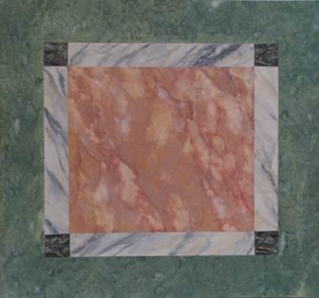 faux marbre en rouge, blanc et vert