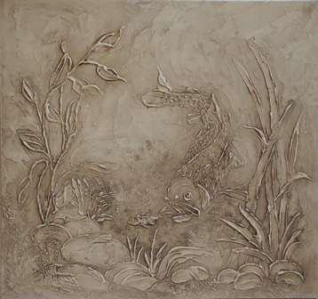 pâte à relief peint et patiné