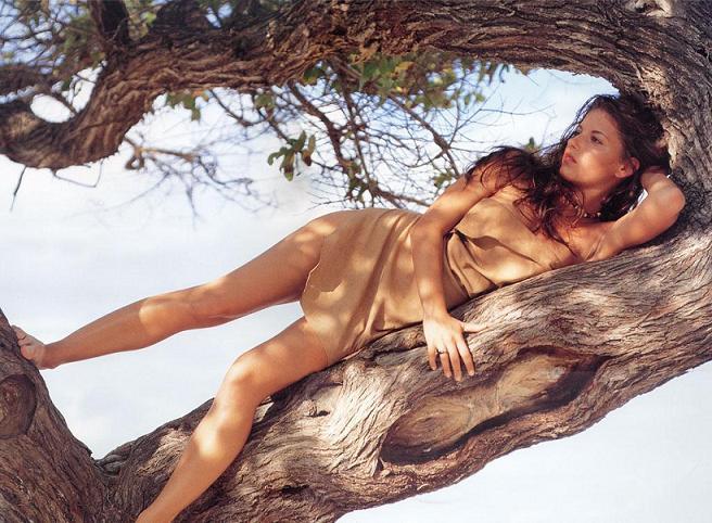 Fille allongée sur un arbre