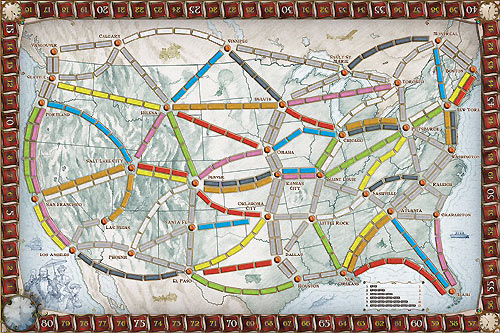 Plateau de jeu des Aventuriers du Rail - Etats-Unis